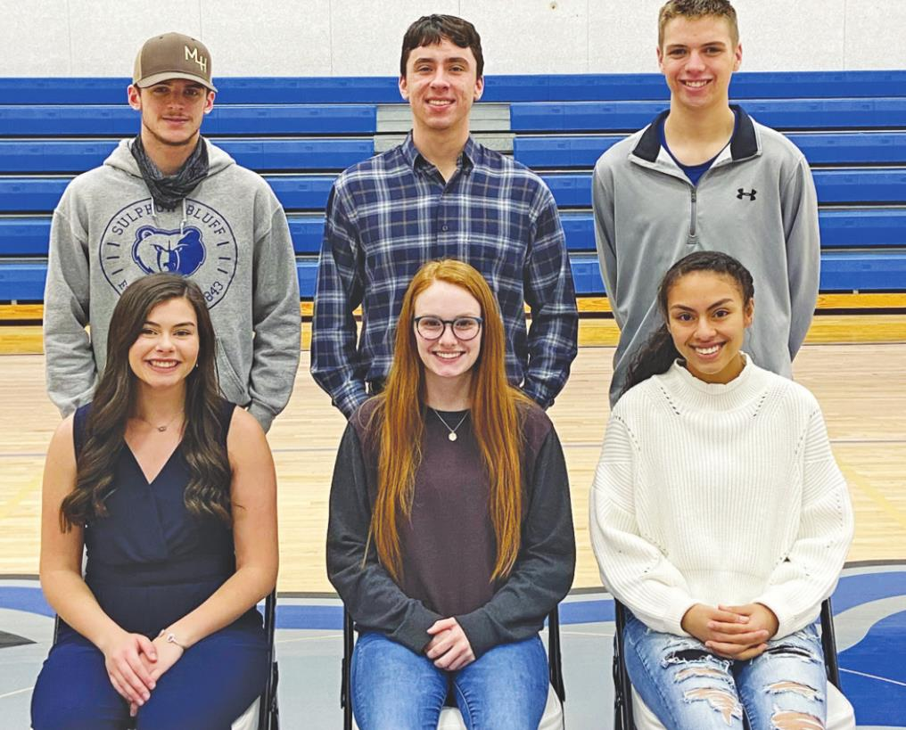 The Sulphur Bluff Kings nominees (back row) are, from left: Montana Hurley, Shane Johnson and Brandon Branom. Queen nominees are, from left: Alley Collett, Trinity Roberts and Jada Wade. Courtesy/Sulphur Bluff ISD