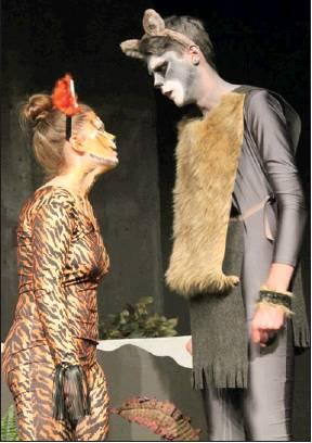 Tate Smith (right) as Akele and Aspen Mayhew as Shere Khan face off.