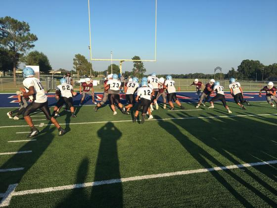 The Como-Pickton Eagles scored once and allowed one touchdown in Friday football scrimmage competition at Prairiland in a dual scrimmage against Prairiland and Maud. Courtesy/CPCISD
