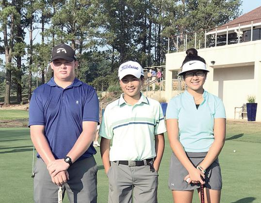 Sulphur Springs golfers (from left) Grant Moheski, Tatum Tran and Mariam Tran qualified for the Northern Texas PGA Junior Tour Ewing Automotive Summer Series Championship Aug. 12-13 at Brookhaven Country Club. The trio advanced thanks to their performance at the East Area Championship at The Tempest Golf Club in Gladewater earlier in August. Courtesy/Dinh Tran