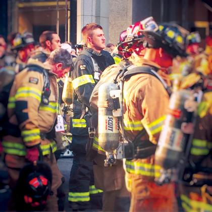 Brennan Murray, 19, of Arbala prepares to complete the 9/11 memorial stair climb in Dallas. Courtesy/Christy Fairchild
