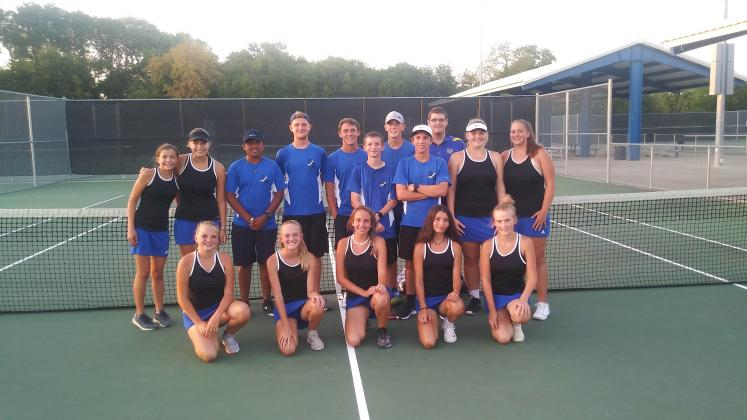 Members of the Sulphur Springs High School tennis team are (from left, front row),Trynity Luckett, Kaylee Schumacher, Paige Miesse, Jeauxleigh Cantu, Emily Dick (back row) Mykylie Meador, Savannah Lilley, Alex Romero, Logan Schumacher, Jonah Kirkpatrick, Jordan Gonzales, Aaron Lucas, Waylon Matlock, Alex Plumley, Katherine Herd and Harleigh Stegient. Courtesy