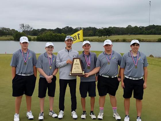 Winning first place in the Sulphur Springs golf tournament held at the Sulphur Springs Country Club on Monday, Oct. 14 were the Sulphur Springs Wildcats. Team members are (from left) Caleb Kesting, Kip Childres, Coach Jeremy DeLorge, Colton Bench, Grant Mohesky and Rylan Brewer.
