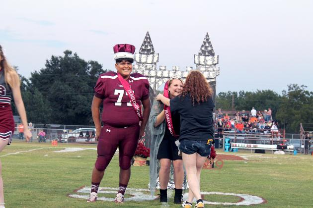 Cumby homecoming king and queen, Elijah Pachcheka and Abby Baxter, are crowned.
