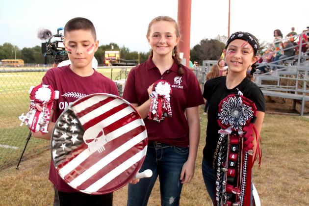"Members of Cumby's ""Trojan Shields of Pride"" spirit section"