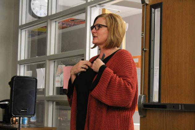 Cumby ISD Superintendent Shelly Slaughter speaks at a public forum about the school's upcoming bond election. Staff photo by Taylor Nye
