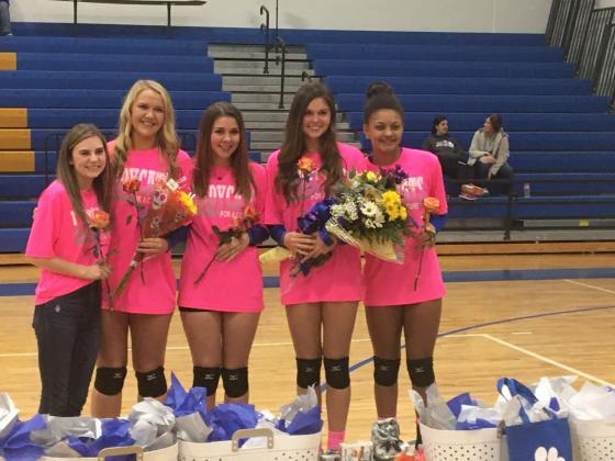 Sulphur Springs Lady Cats honored at Tuesday, Oct. 29 Senior Night are from left: Braely Vickery, Erika VanBenthem, Kaylee Malone, Sydney Washburn and Aliyah Abron. Photo by Don Wallace