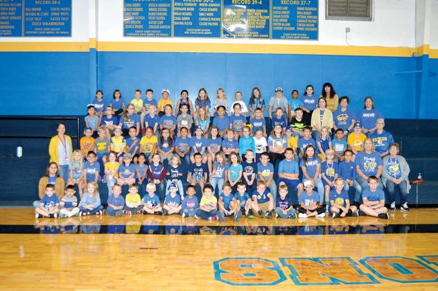 "Every Saltillo student, from kindergarten to 12th grade, wore blue and gold on Monday. Saltillo's Beta organization also collected money during a ""hats on"" fundraiser for the families. Courtesy"
