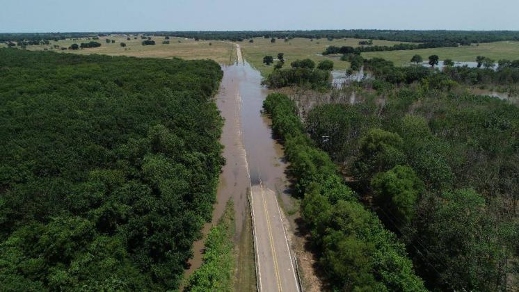 Drone footage of the flooded State Highway 71 bridge taken April 2019. Courtesy/Marna Martinez