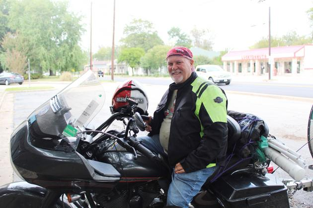 Rex Covington, a.k.a. the Lone Star Rider, intends to raise $90,000 for diabetes research by riding his 2008 Harley-Davidson across the country. He stopped in Hopkins County Tuesday for a short while. Staff photo by Tammy Vinson