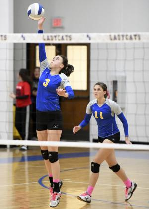 Sadie Washburn (3) of Sulphur Springs slams home a shot while her teammate and sister, Sydney Washburn (11) looks on. The Lady Cats finished fourth in district play and meet Hallsville at 7:30 p.m. Tuesday at Tyler Junior College. Courtesy