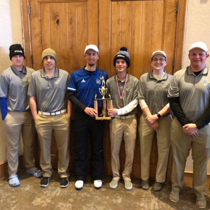 The Wildcats celebrate their third-place finish in the Heritage Ranch Open tournament Tuesday. From left are: Caleb Kesting, Rylan Brewer, Coach Jeremy DeLorge, Colton Bench, Kip Childress, and Grant Mohesky Courtesy/ Sulphur Springs ISD via Jeremy DeLorge