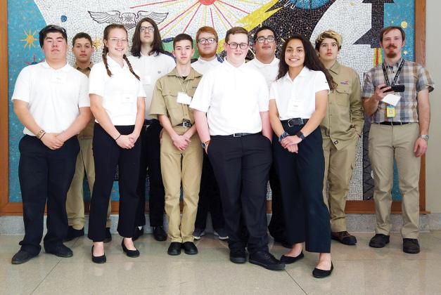 Sulphur Springs High School students who competed in robotics at the SkillsUSA contest in Waco earlier in February were: (from left) Luis Ruiz, Kobe Walker, Isabelle Thesing, James Draper, Austin McCain, Matthew Robinson, Clancy Mayo, Stanley Alba, Emily Soto And Jimmy Graham. Courtesy/SSHS via Jenny Arledge