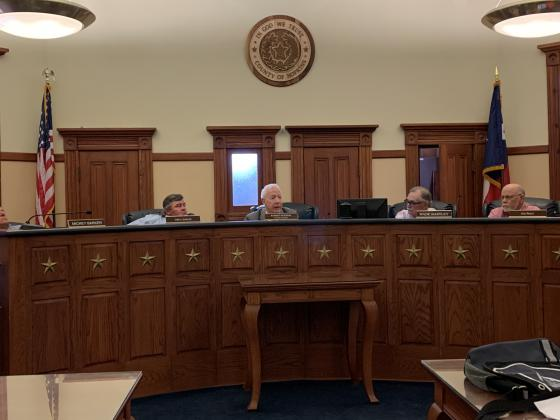 Commissioners (from left) Greg Anglin, Judge Robert Newsom, Wade Bartley, Joe Price