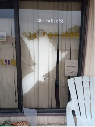 The Lil 4's Club building on Fuller Street was broken into sometime Thursday night. Thieves gained entry by smashing the front window. They stole a jar of change and all of the playground toys. Courtesy/Letita Conliffe