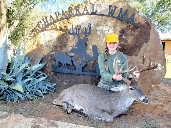 Youth hunter Katelyn Chappell of Commerce bagged this outstanding whitetail last year at the Chaparral Wildlife Management Area in South Texas. The deer scored 169 6/8 B&C. Courtesy/TPWD