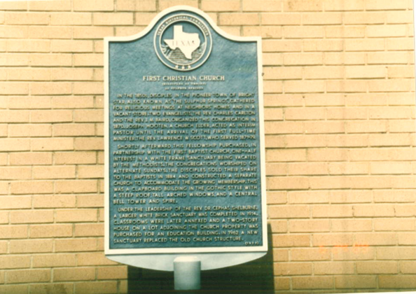 A historical marker for the First Christian Church in Sulphur Springs is installed just outside the current church building on Davis Street. File