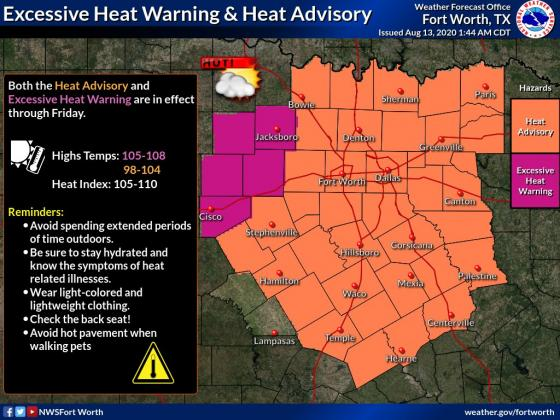 Heat advisory for August 13/ Courtesy NWS