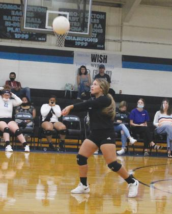 Chloe Romero returns a serve in earlier action this season for the Lady Eagles. Romero led the team with 11 digs in their road win over Yantis on Tuesday. She also had four aces. Staff photo by Tyler Lennon
