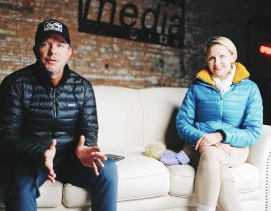 Chad's Media owner Chad Kopal, left, joined Hopkins County Health Care Foundation Director Shannon Barker in a video produced by his company to announce the postponement of the Lights of Life Gala Unmasked event scheduled Feb. 20. Screenshot/Chad's Media via Facebook