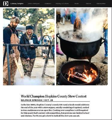 "The Hopkins County Stew Festival has made the ""50(-ish) Small Town Festivals"" guide in the September 2019 issue of D Magazine. Screenshot/D Magazine online"