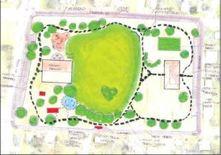 A map put together at last year's charette concerning Pacific Park shows the new design for the space, which will include a multi-use basket- and volleyball court and a community building. Courtesy/City of Sulphur Springs, Marc Maxwell